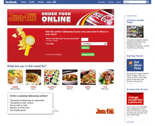 Just-Eat Facebook Application Screenshot