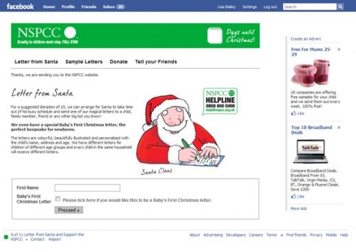NSPCC Facebook Application Screenshot